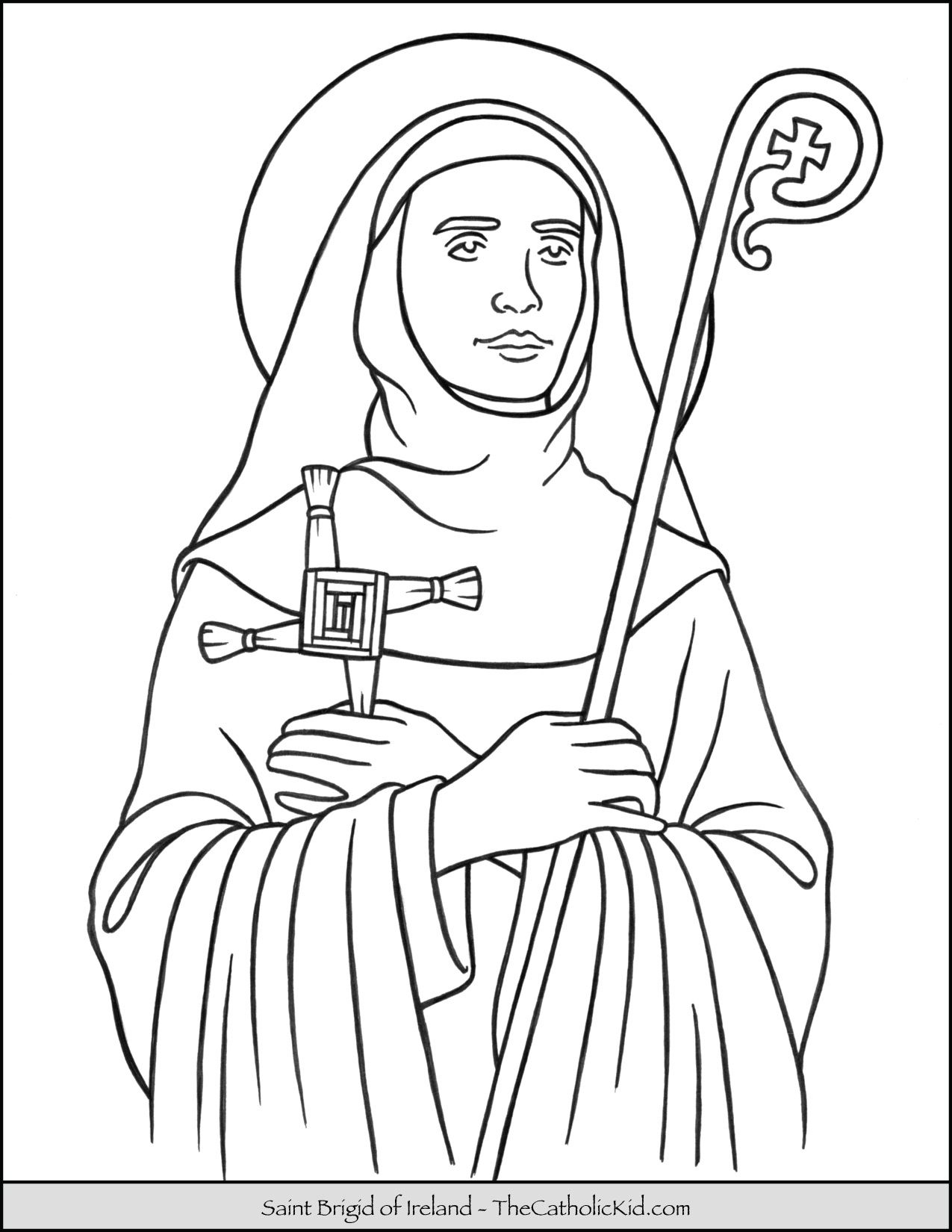 Saint Brigid Of Ireland Coloring Page Thecatholickid Com With