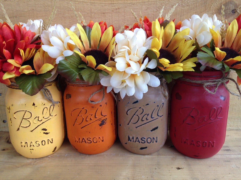 Painted mason jars fall vases fall decor rustic decor home decor