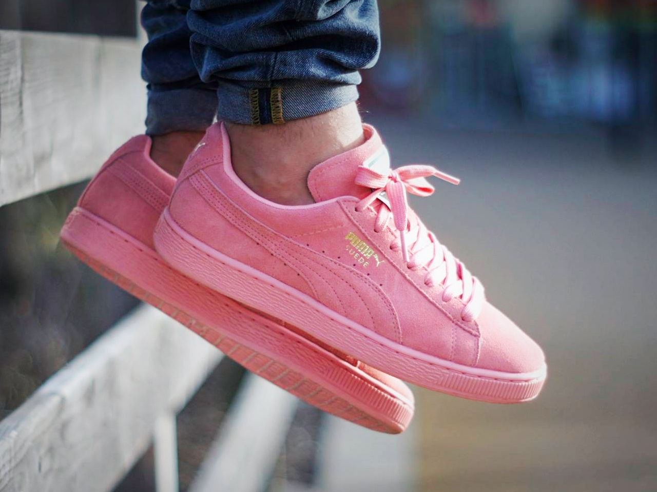 puma suede rose on feet