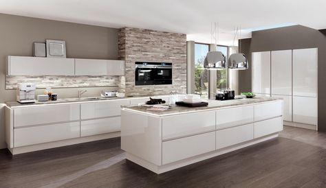 Design Einbauküche Norina 9555 Weiss Hochglanz Lack