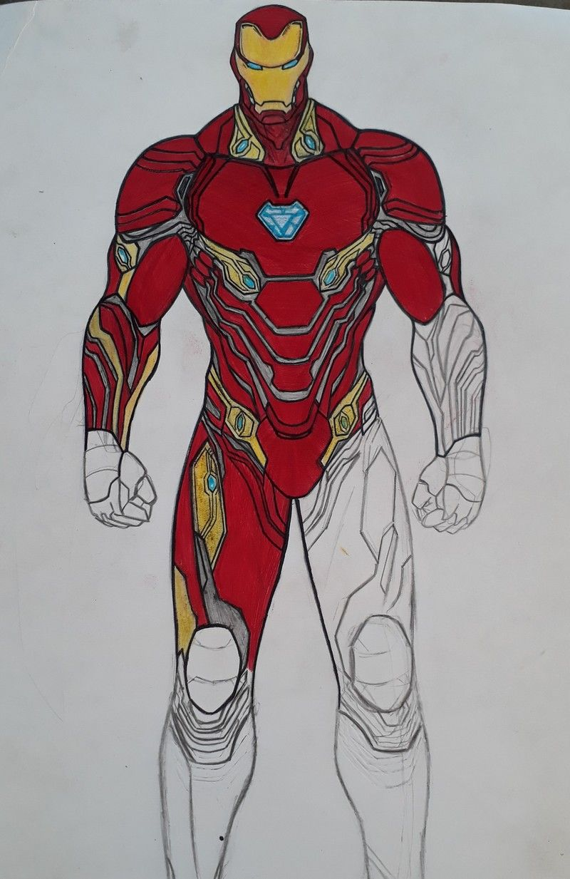 Artstation Iron Man Infinity War Mark 50 Michael Silva In 2021 Iron Man Spider Drawing Easy Drawings