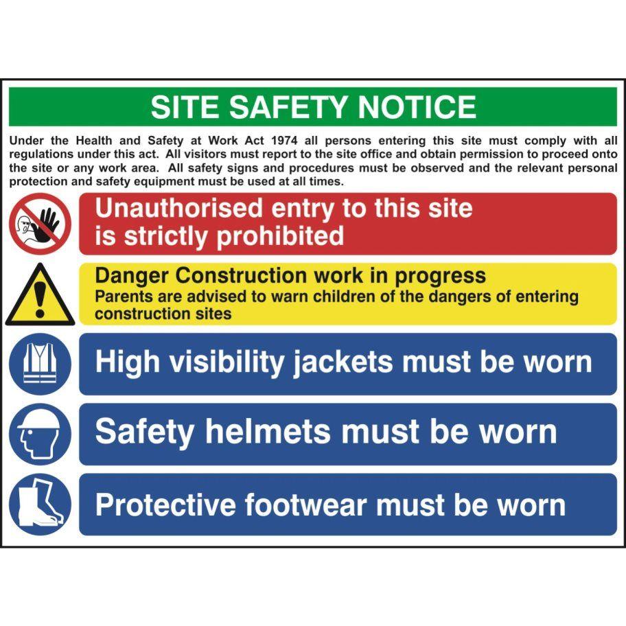 Multi Purpose Construction Site Sign 3, 5 Messages PVC