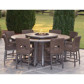 Brentwood 11 Piece High Dining Fire Pit Set Outdoor Fire Pit Seating Fire Pit Table Set Outdoor Deck Decorating