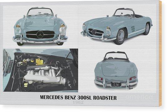 Mercedes Benz 300sl Roadster Blue Classic Car by Drawspots Illustrations
