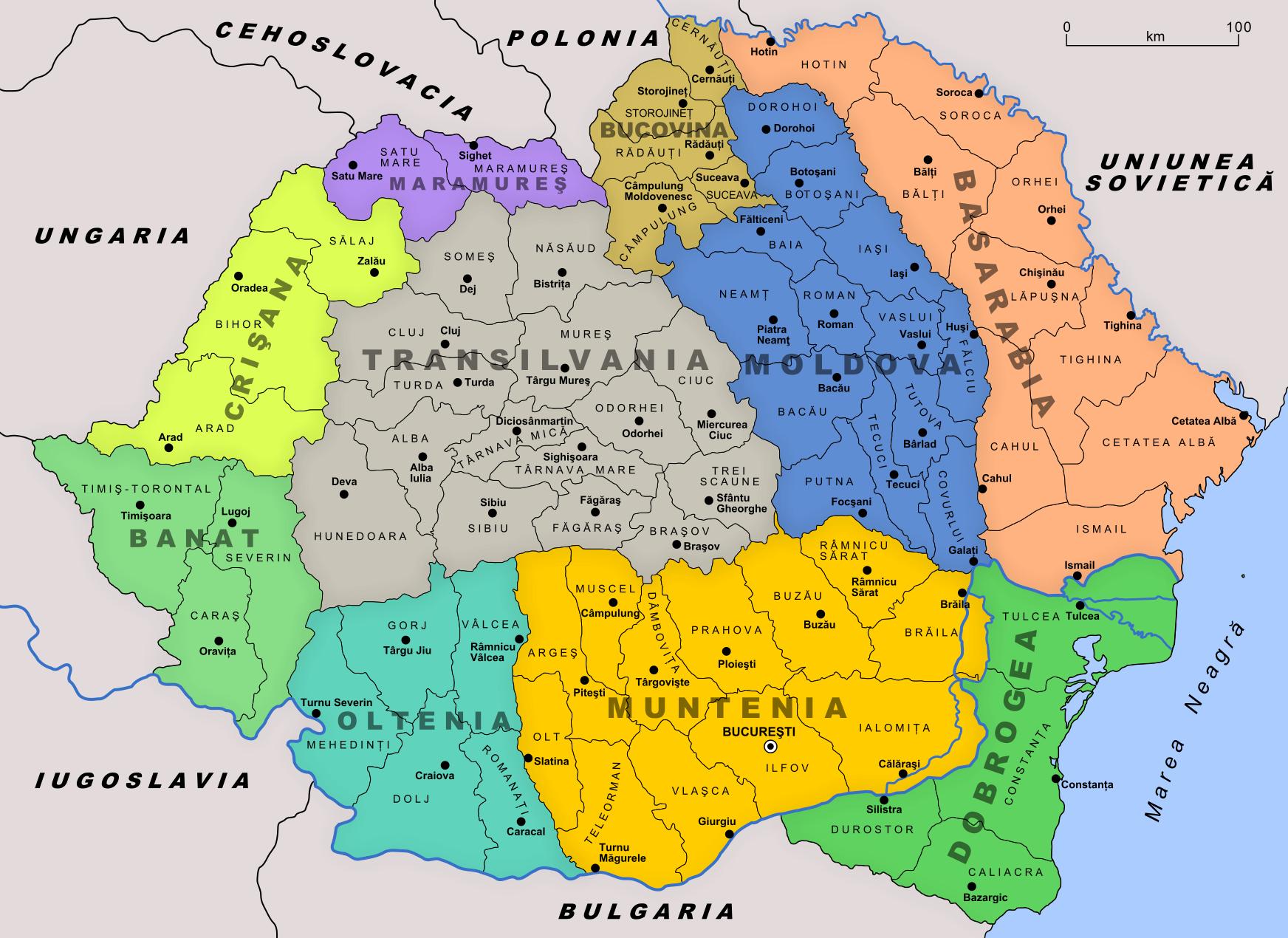 Administrative Map Of Romania In 1930 20th Century Europe Romania
