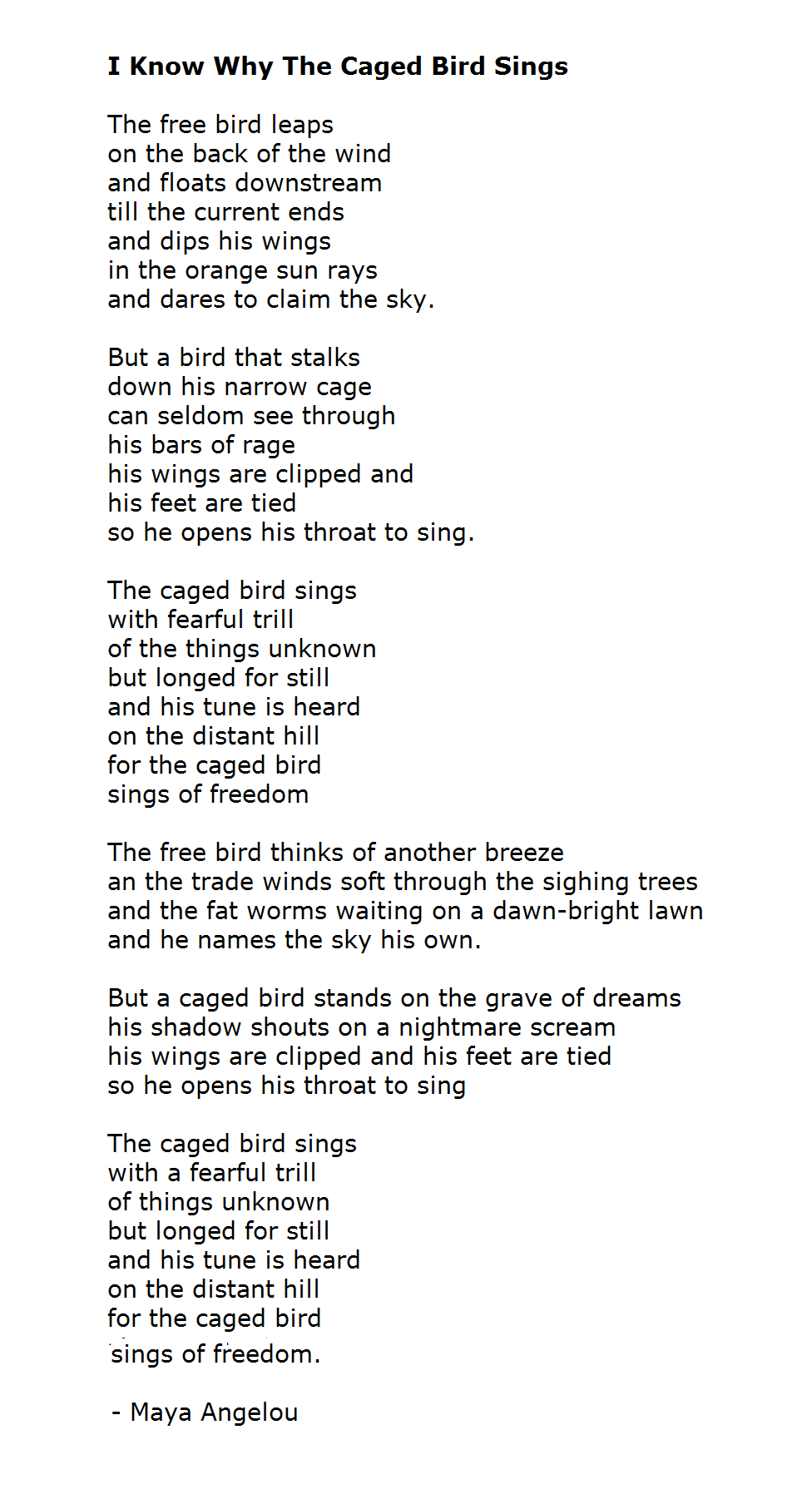 an analysis of major themes in why the caged bird sings by maya angelou Analysis of form and technique print caged bird by maya angelou the caged bird sings with fearful trill of the things unknown but longed for still and his tune is heard on the distant but a caged bird stands on the grave of dreams his shadow shouts on a nightmare scream his wings are clipped.
