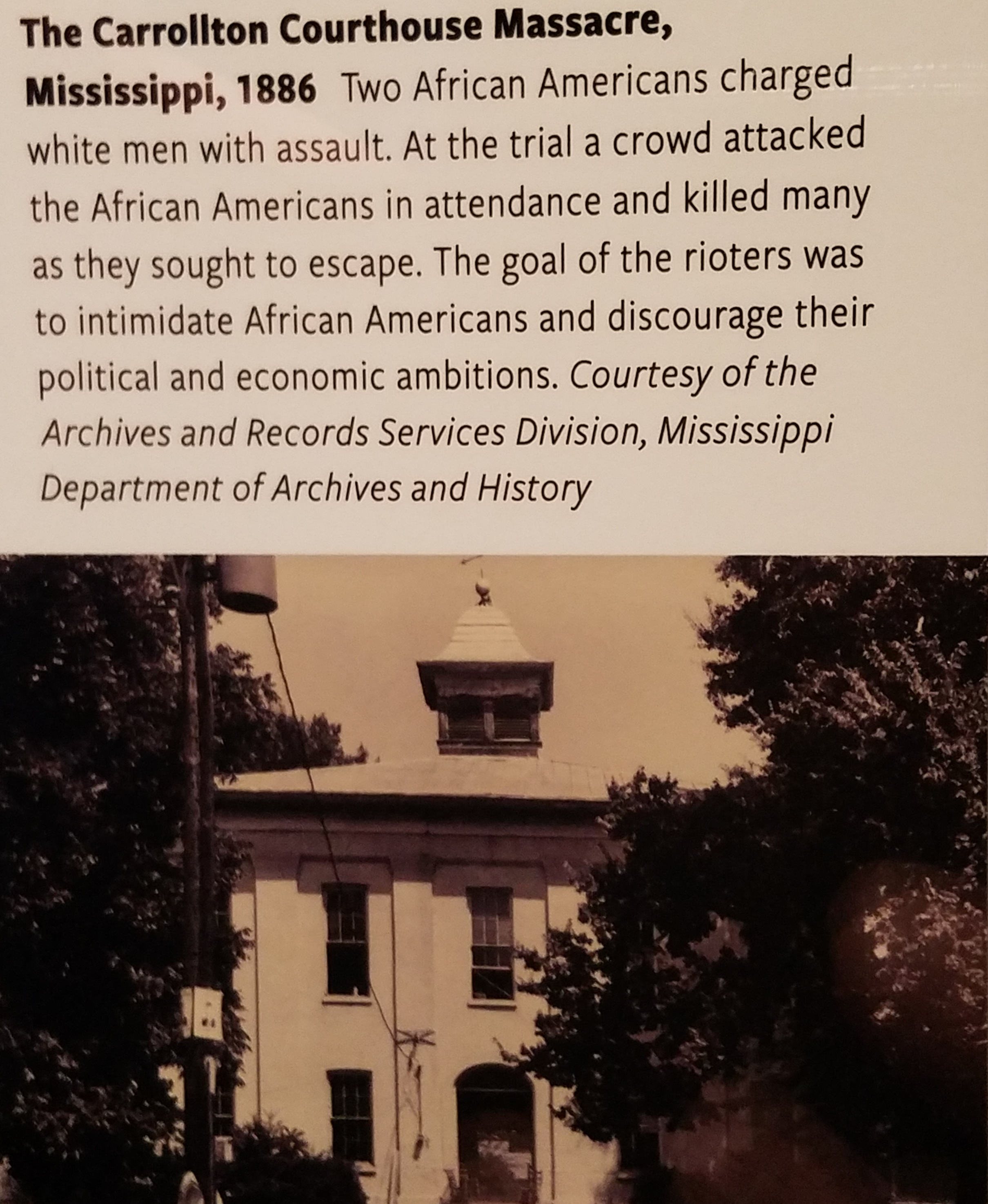 The Carrollton Courthouse Massacre, Mississippi, 1886 Two African