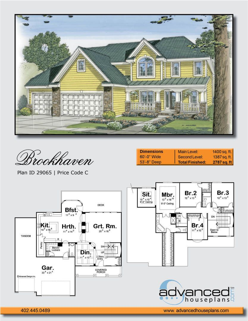 Brookhaven 2 Story Traditional House Plan Farm style