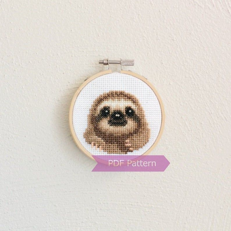 Photo of Sloth cross stitch pattern PDF – Sloth embroidery PDF – Instant download – Small