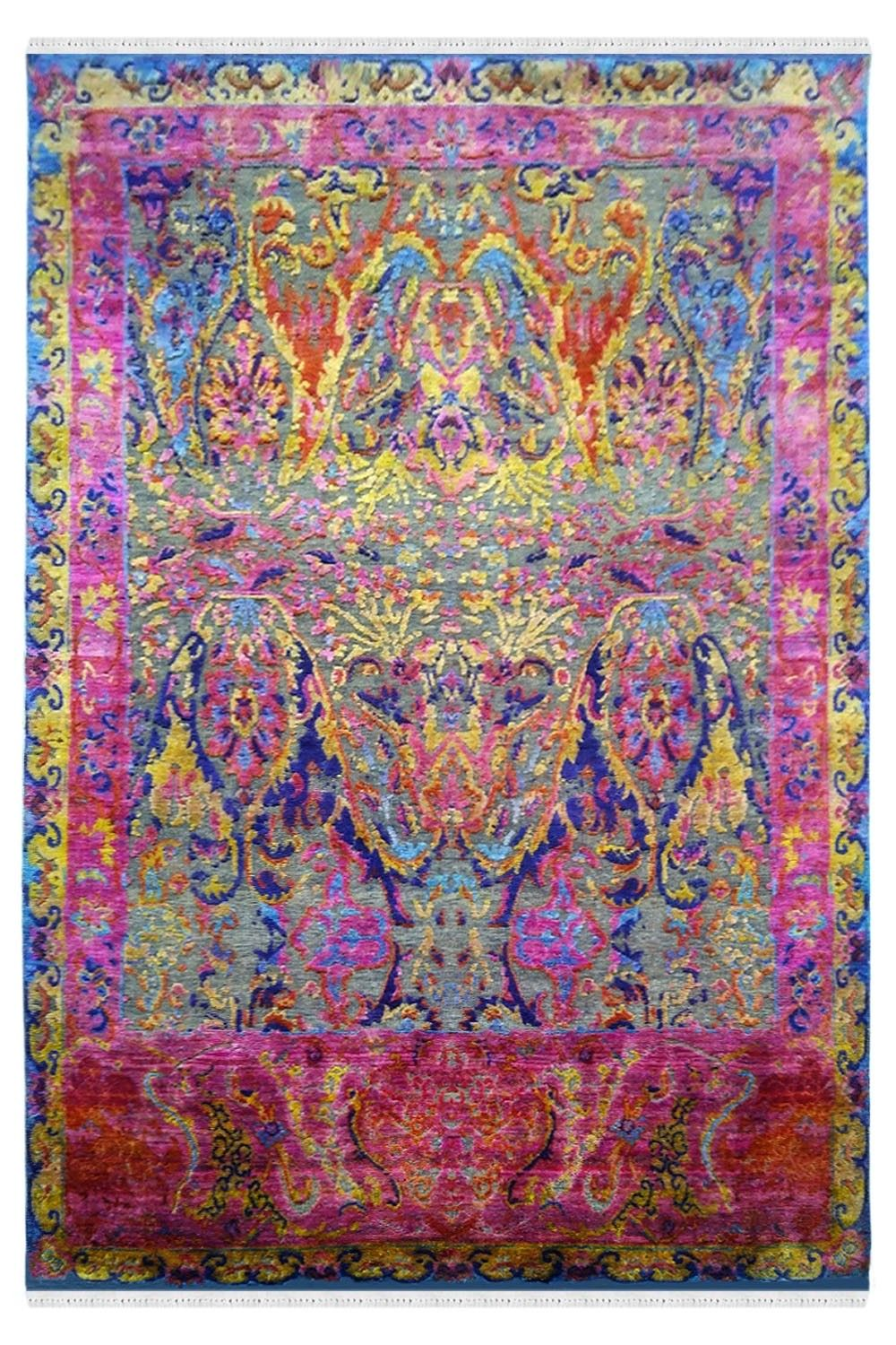 Shop Pink Victorian Hand Knotted Sari Silk Persian Rugs At Low