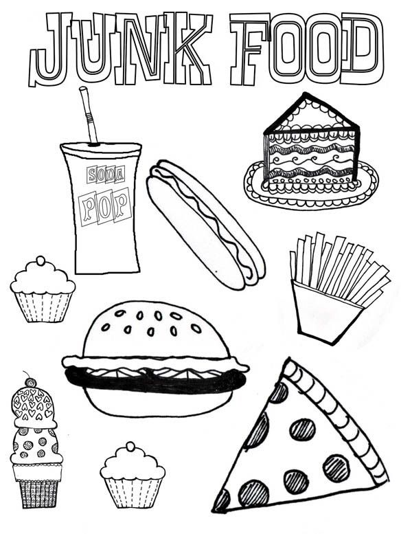 Junk Food Coloring Page Download Print Online Coloring
