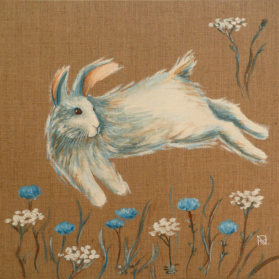 Painting «White Rabbit» by Nadine Lière, Acrylic on canvas board, 40 x 40 cm, 2014, grenadine-art.eu