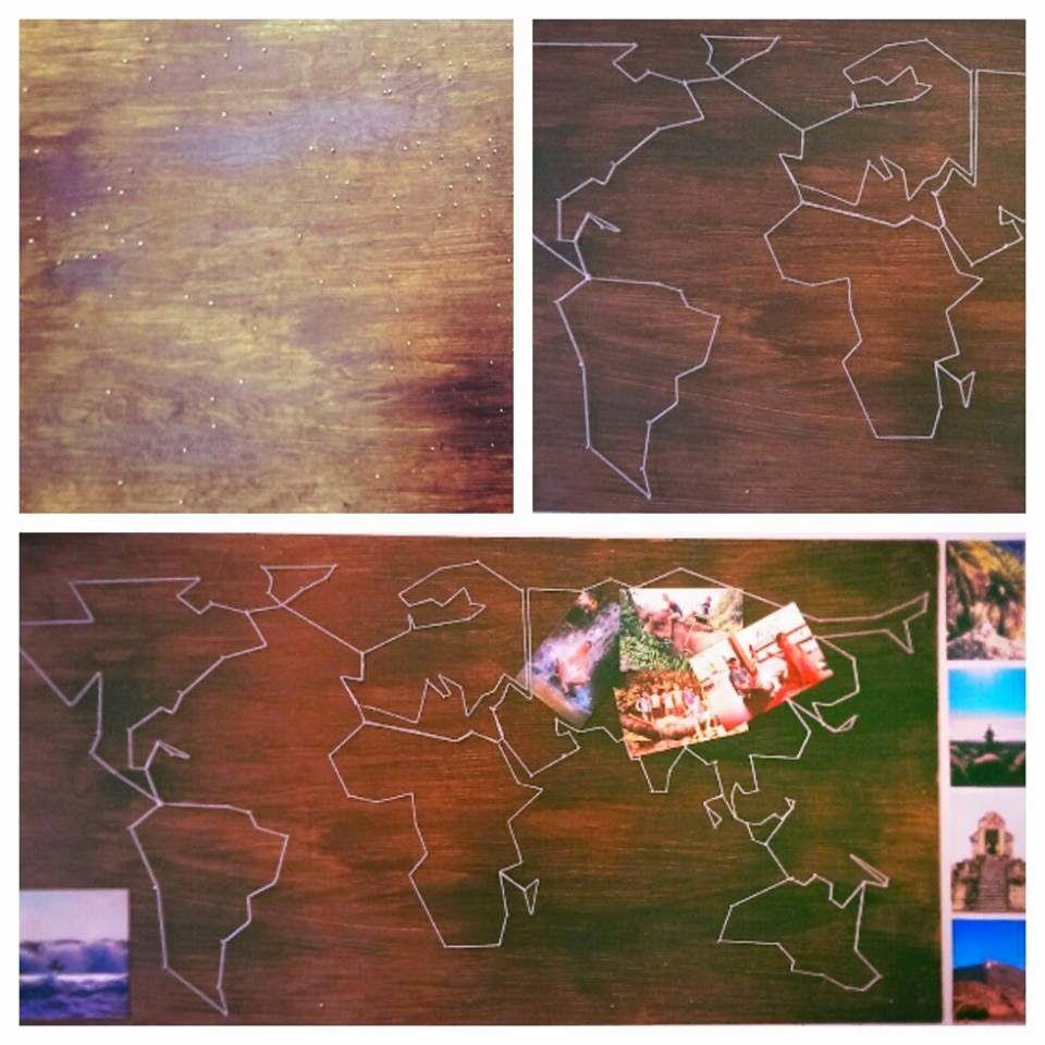Nagel-Faden-Weltkarte - braucht viel Zeit und Geduld ...
