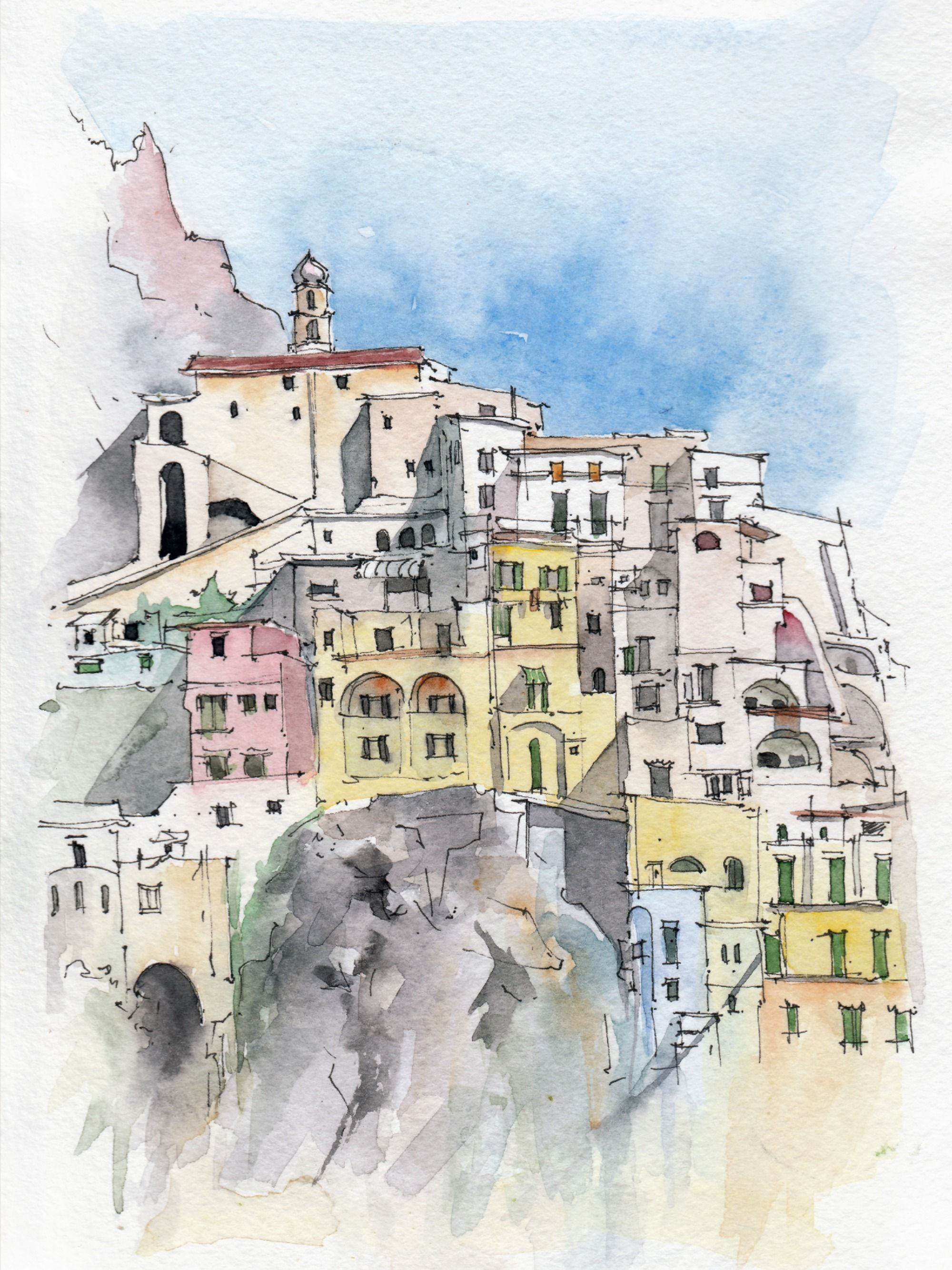 Watercolor Italy Gift Original Watercolor Draw Amalfi Coast Etsy Italy Pictures Watercolor Pictures Italy Coast