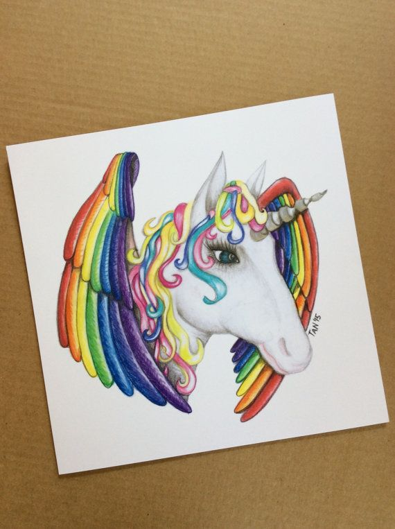 Unicorn Mandala Rainbow Colour Print Of Colour Pencil Drawing On