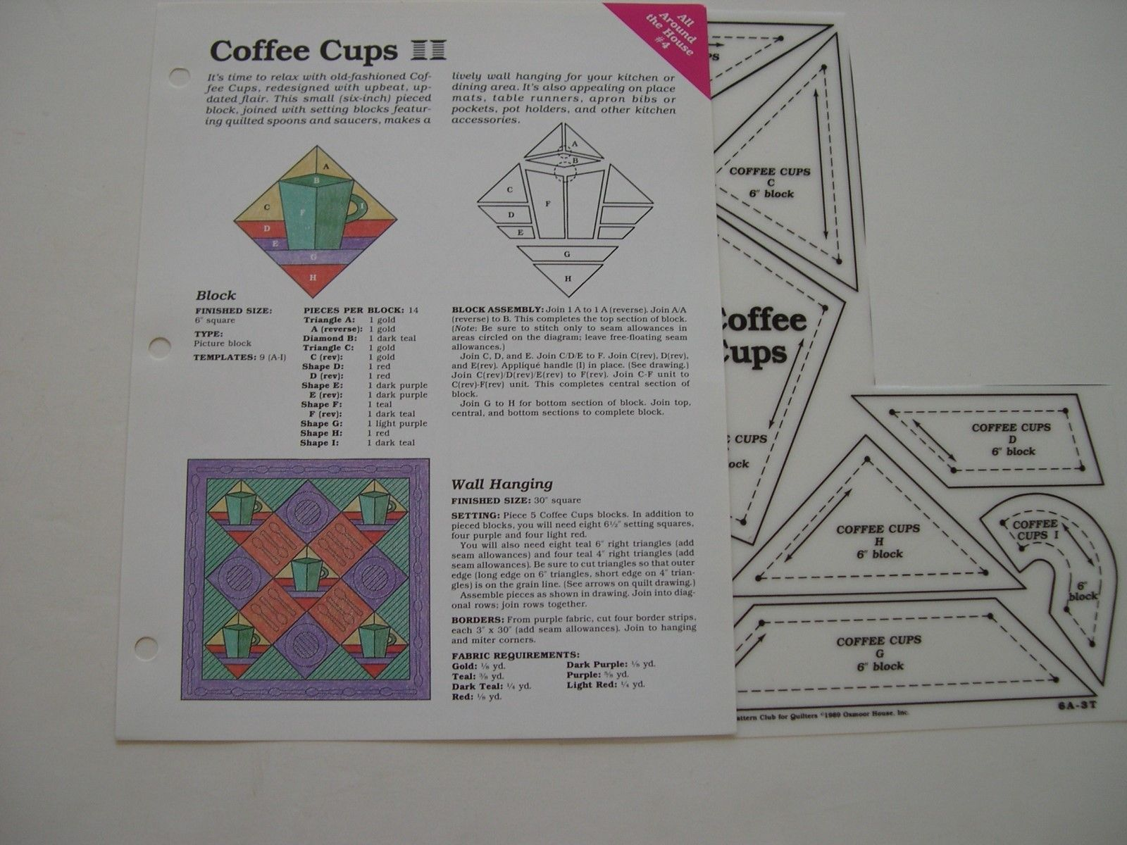 Coffee Cups Quilt Pattern Spinning Spools w Uncut Plastic Templates ...