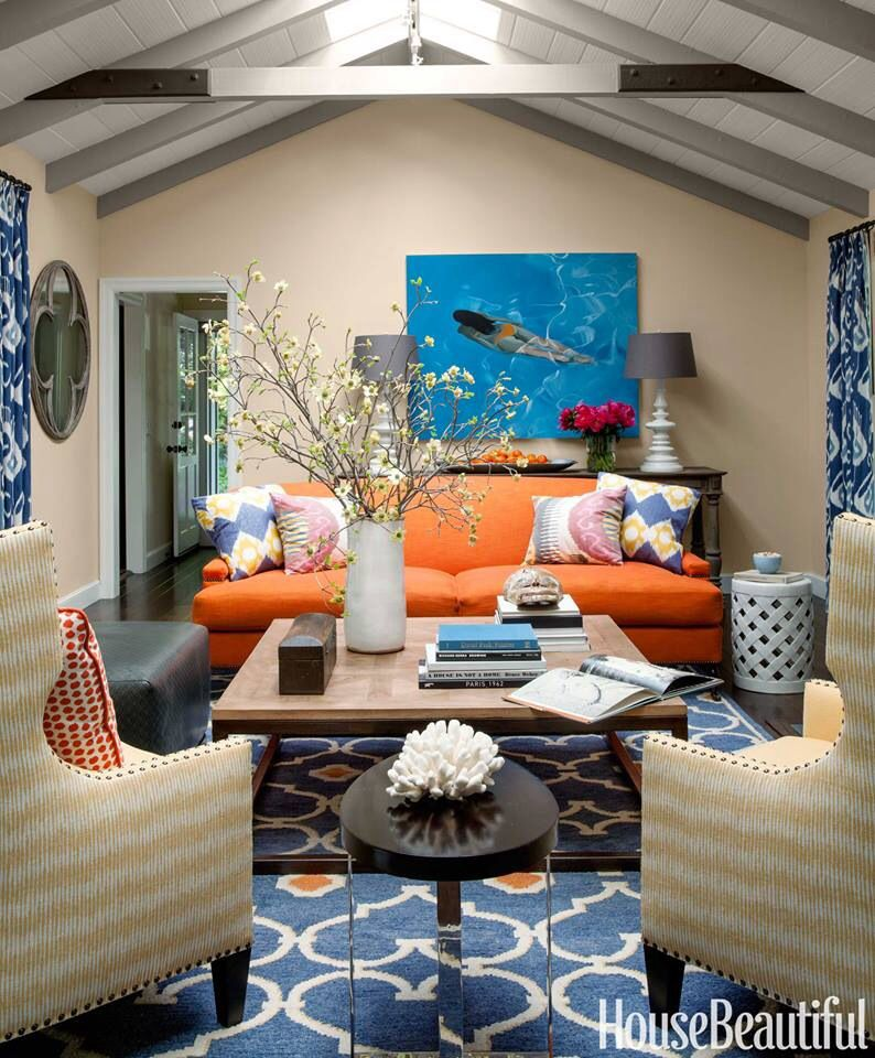 Blue orange living room interior design pinterest for Decoracion hogar living
