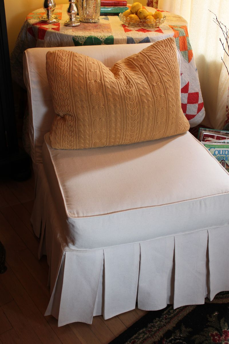 Our New Slipper Chair Slipcovers Drop Cloth Slipcover