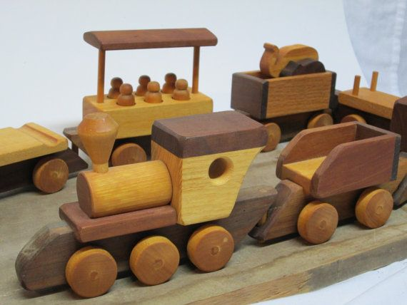 Wooden Train Toy Set Circus Train With by FolkOfTheWoodCrafts, $90.00