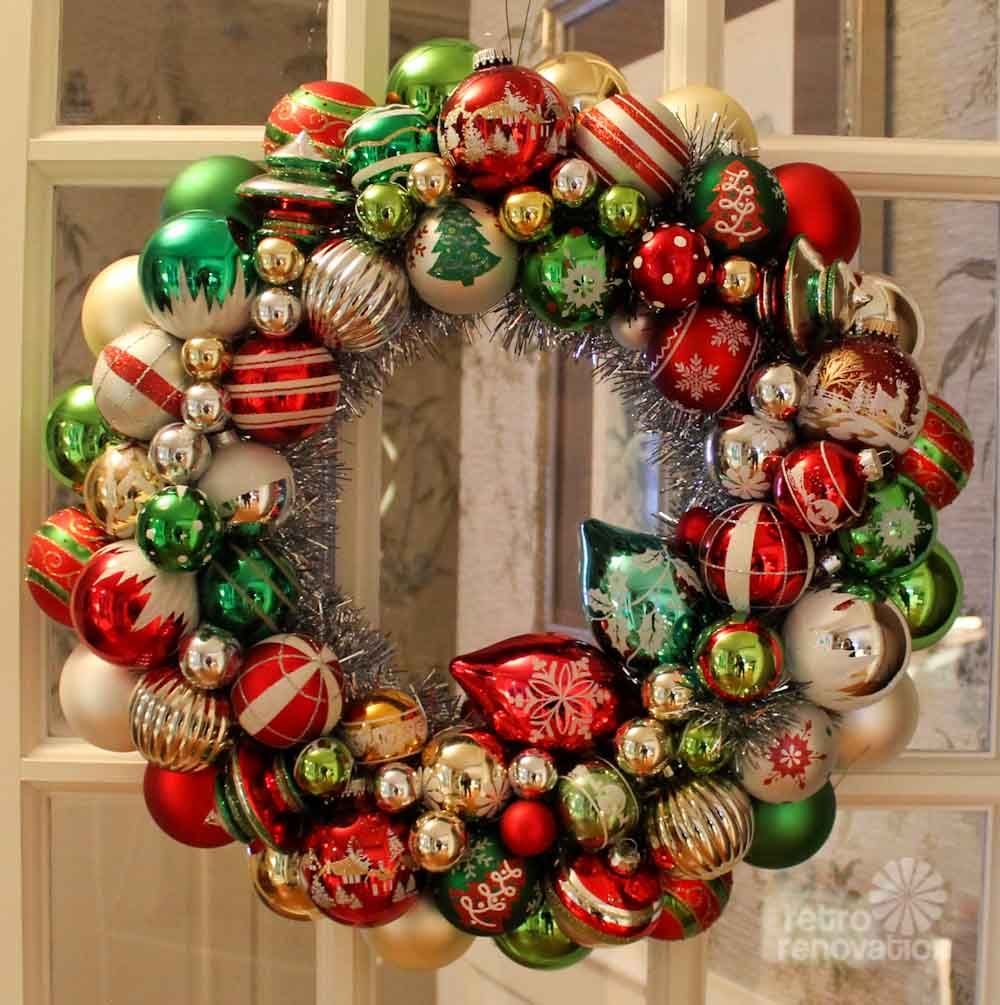 Large Shop Christmas Decorations: Ornament Wreaths Made From New Christmas Ornaments