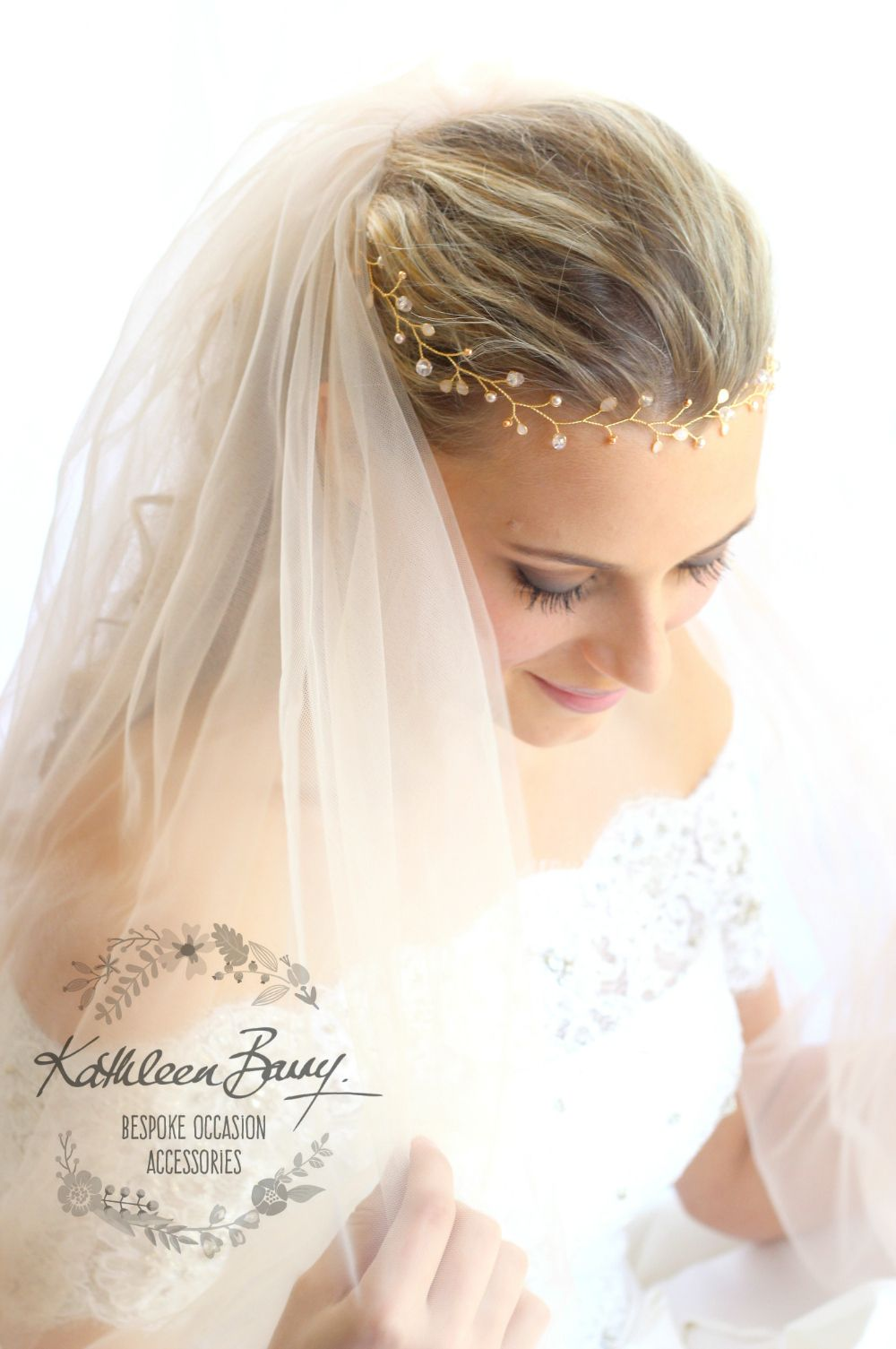 Rose gold Bridal hair wreath, blush pink gold, wedding hairpiece ...
