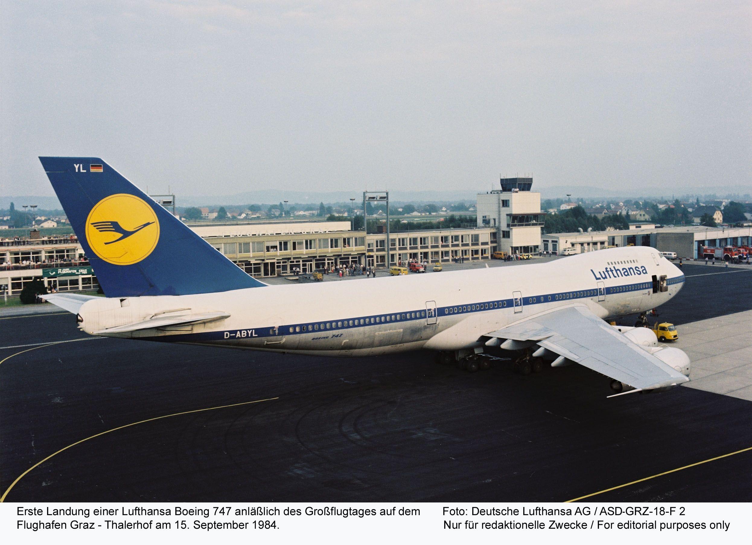 an early lufthansa boeing 747-200 (d-abyl) seen at graz thalerhof