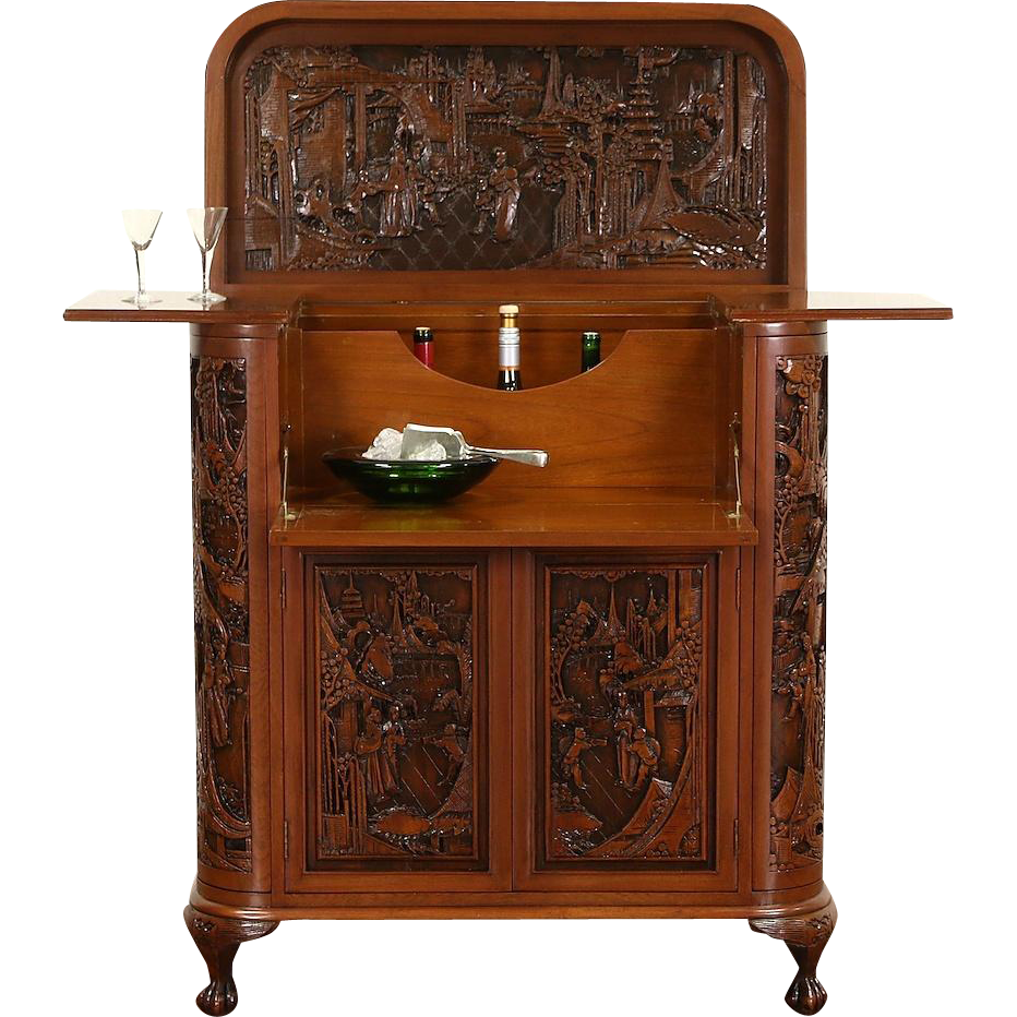 About 50 Years Old This Splendid Bar And Liquor Cabinet Or Server Was Deeply Hand Carved Of Solid Teak In China With Tradi Chinese Bar Bar Cabinet Vintage Bar