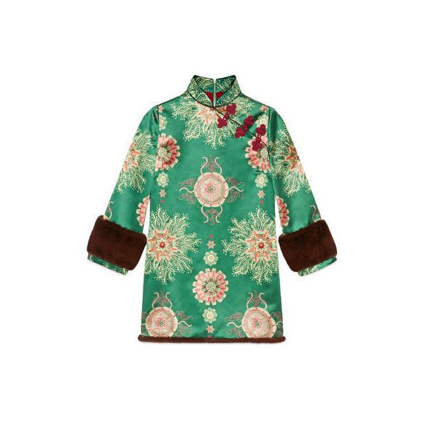 Gucci Sea Lace Print Silk Dress (€5.465) ❤ liked on Polyvore featuring dresses, green kimono, fur trimmed dress, green silk dress, green dress and abstract print dress
