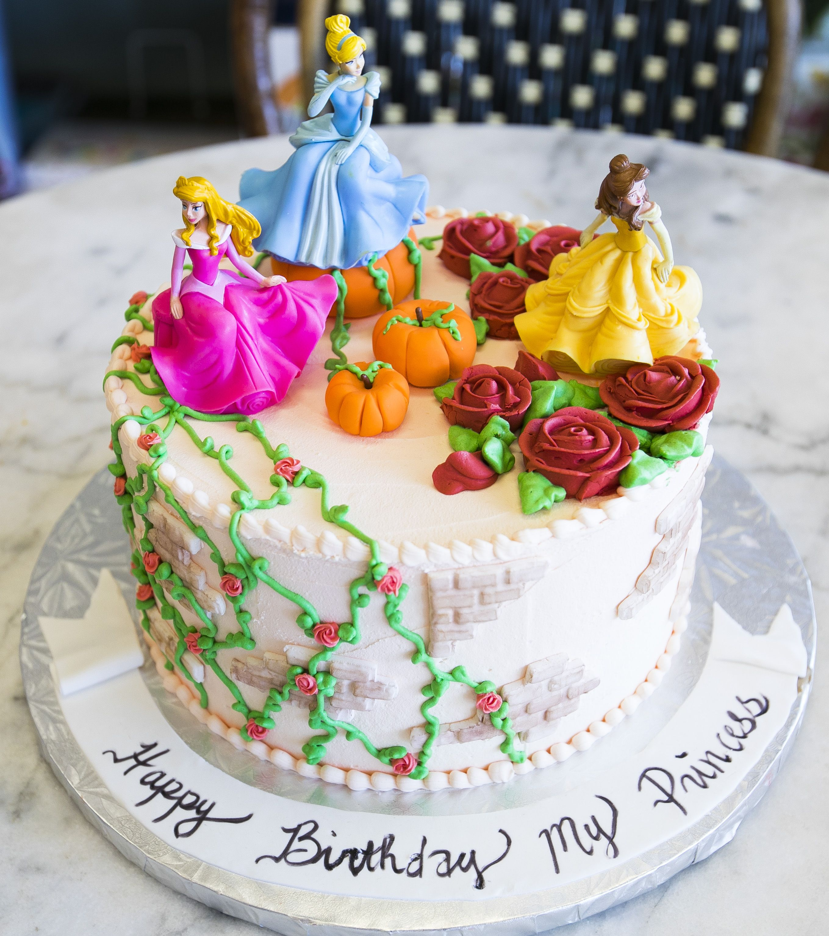 Brilliant Disney Princess Cake With Cinderella Sleeping Beauty And Belle Personalised Birthday Cards Paralily Jamesorg