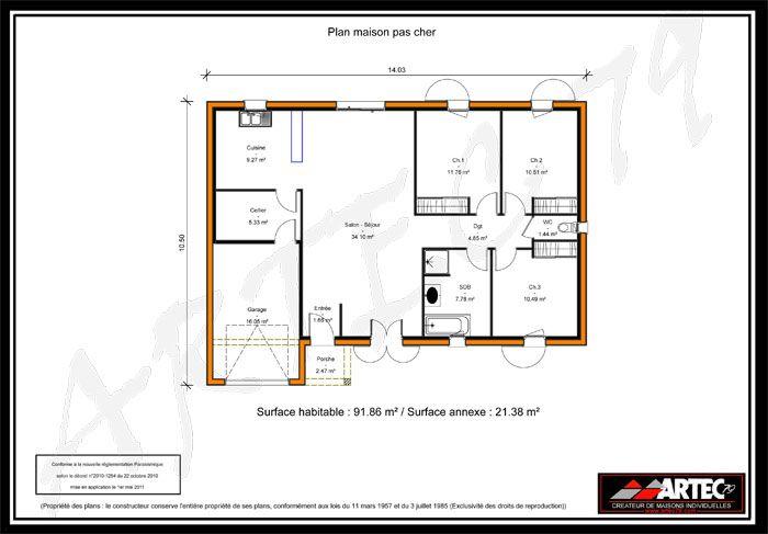 Plan Maison Plain Pied 100m2 Avec Garage Plan Maison 4 Chambres Maison 4 Chambres Plan Maison