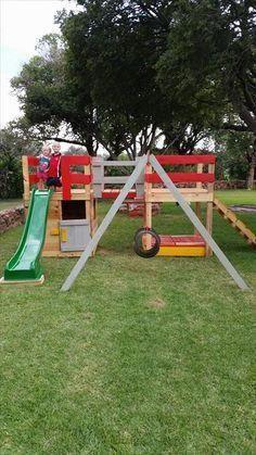 Colorful Pallet Jungle Gym - Kids Playhouse   99 Pallets # ...