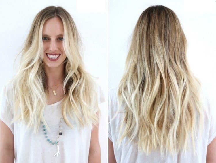 Lange Blonde Haare Zwei Lange Stufen Kopf Frisuren Blond