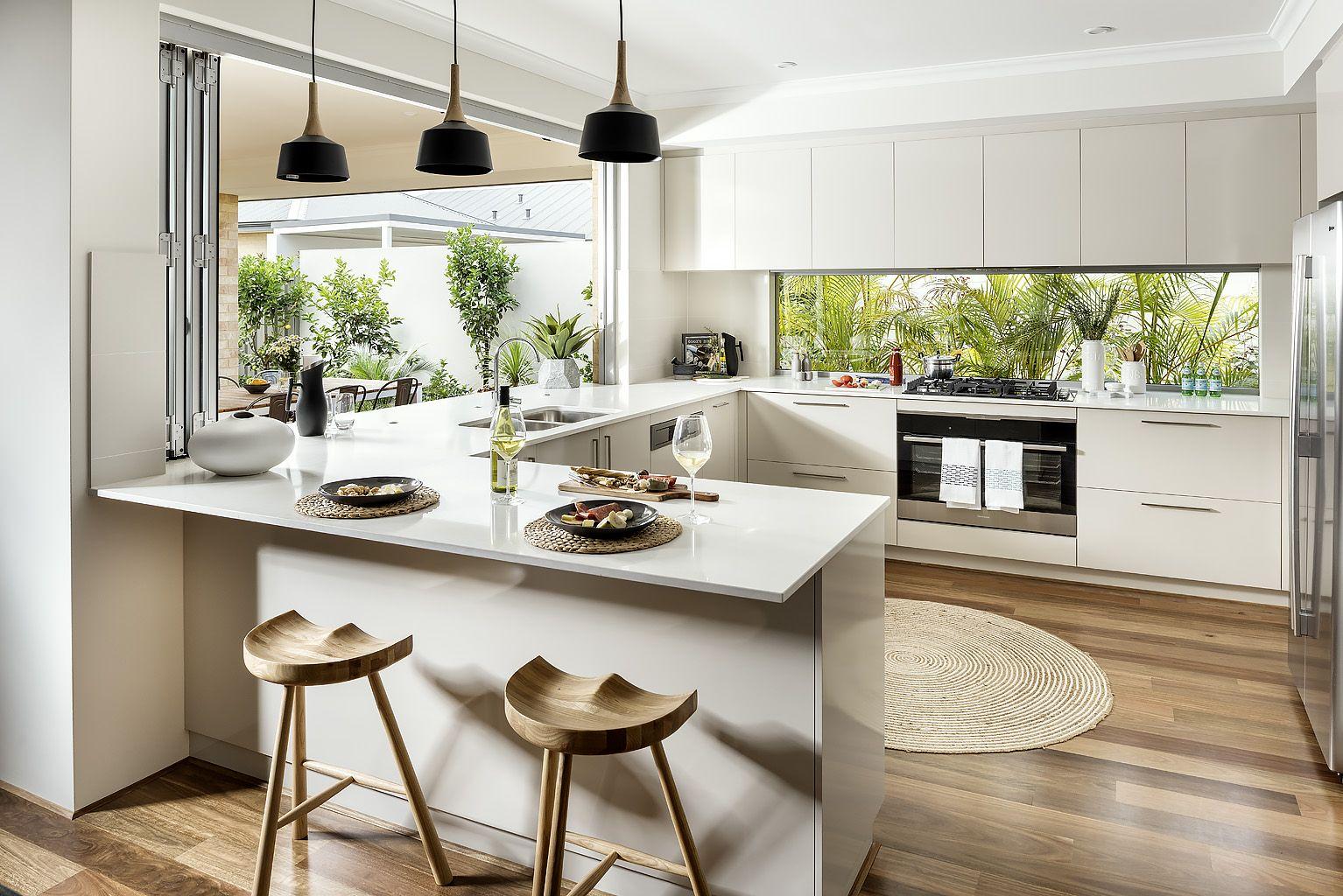 White Modern Kitchen With Glass Window Splash Back And Black Pendant Lights