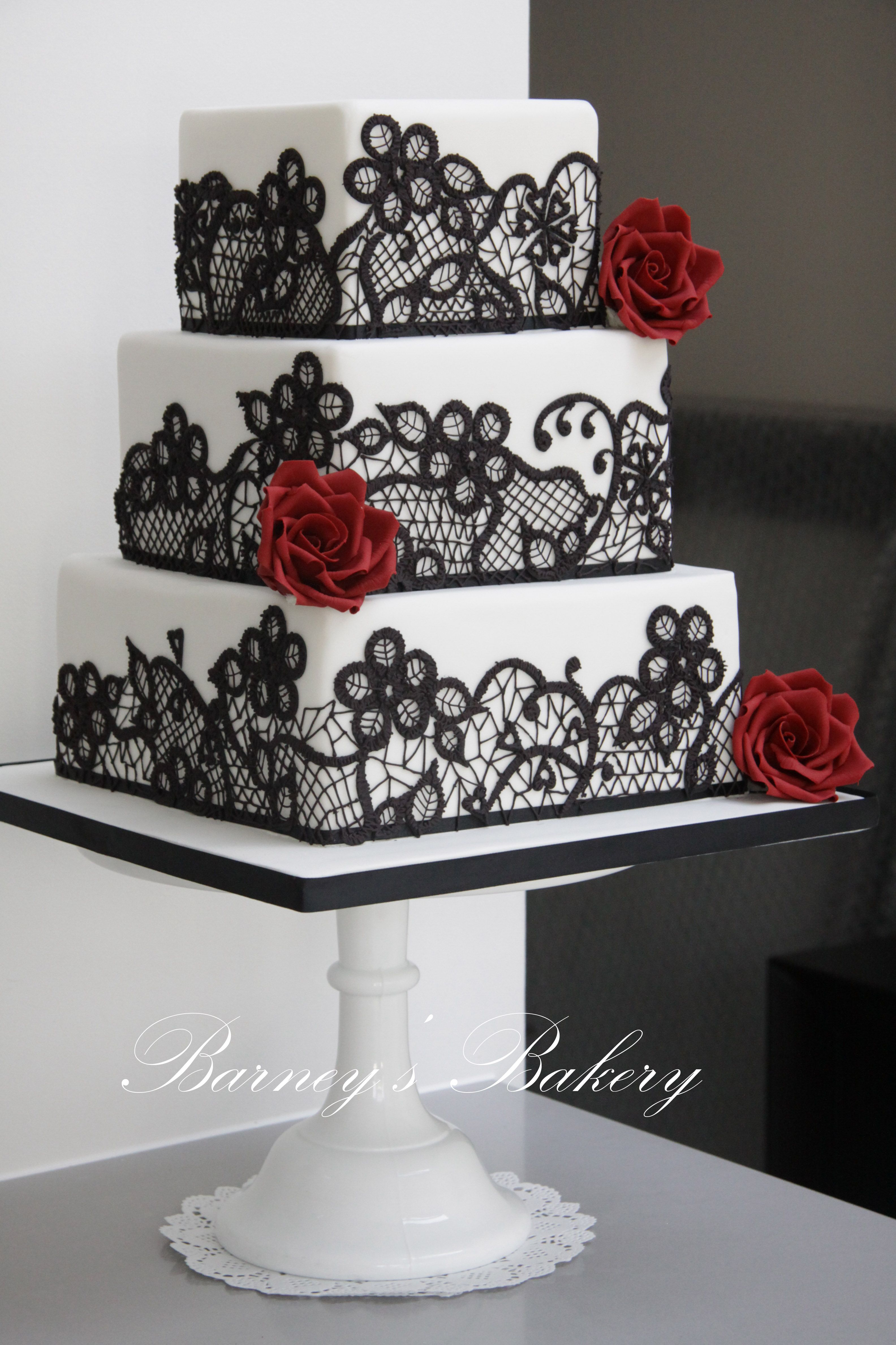 Square wedding cakes black red and white wedding cake wedding white cake black lace and red flowers mightylinksfo