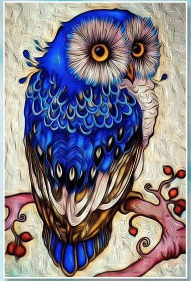Blueberry Belle Diamond Painting Kit is part of Owl artwork - This beautiful fancy owl in a top hat makes an absolutely gorgeous diamond painting  If you're new to the craft, or want to learn more, check out our page on diamond painting here