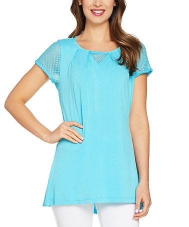 Another great find on #zulily! Surf Blue Cap Sleeve Knit Top - Plus Too #zulilyfinds