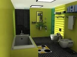 A lime green bathroom with a Black tiled shower... my favorite color combo!!