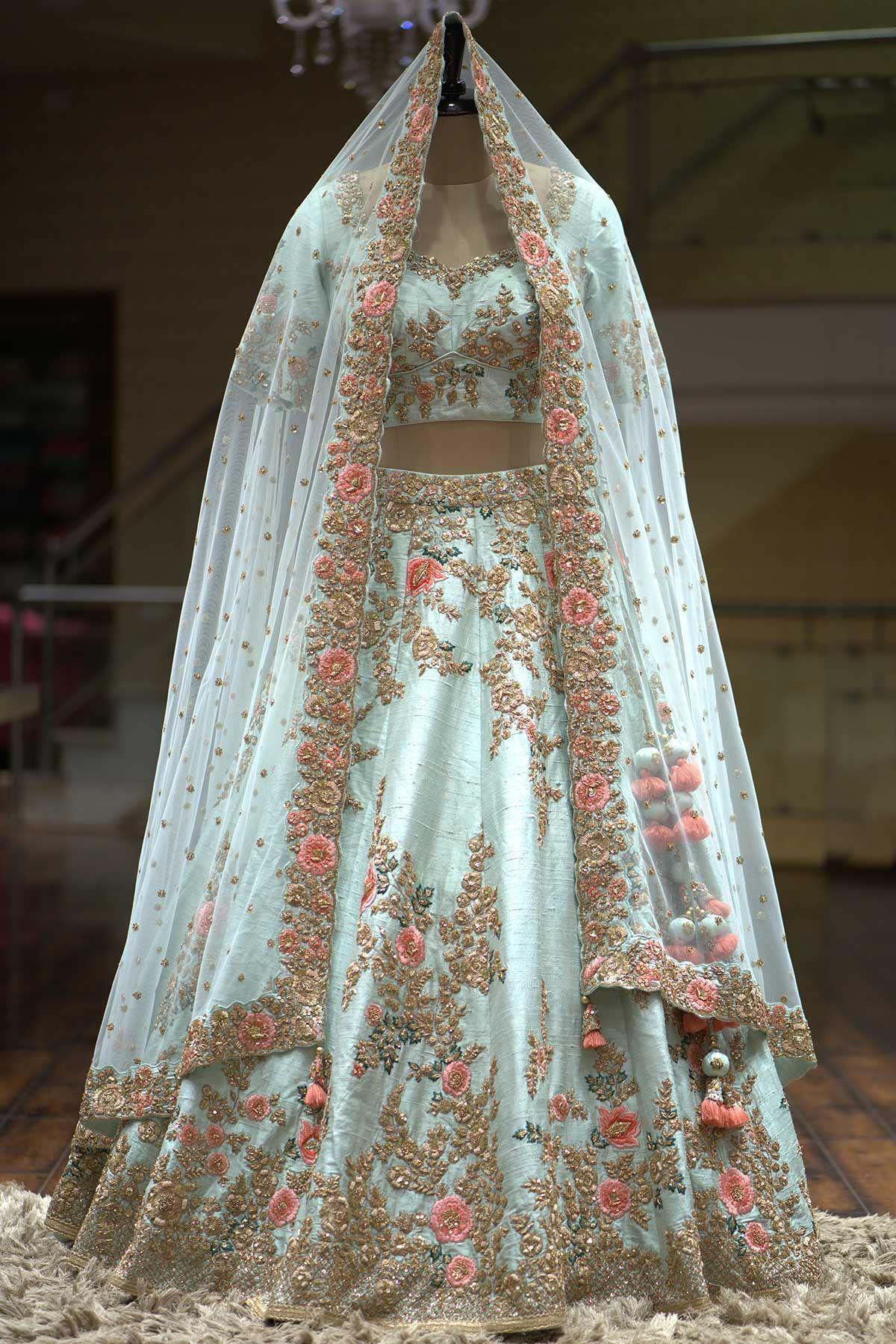 Raw silk wedding dress  Mint Green Zardosi Embroidered Raw Silk Bridal LehengaKC  Half