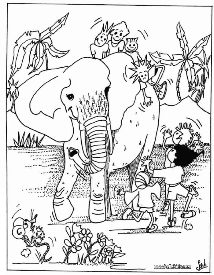Kids and elephant coloring page More Africain animals coloring