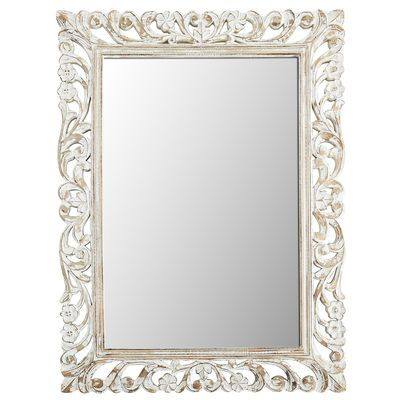 white floral carved wood frame 36x48 mirror - White Wood Frame