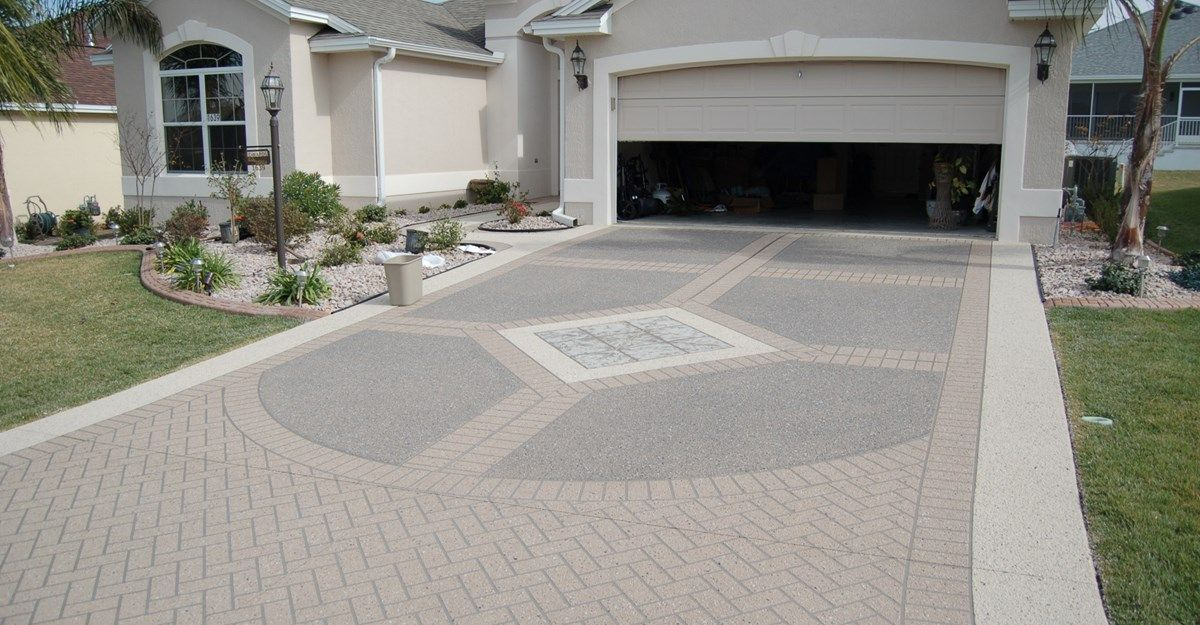good driveway styles #2: Add instant style with a decorative concrete driveway + Stencil Template /  Custom Ram Design.