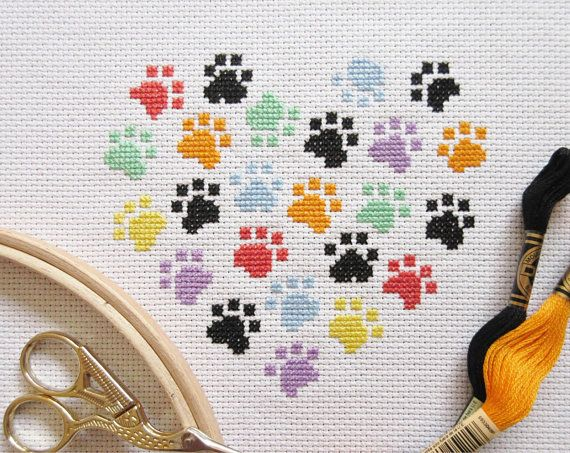 Animal Paws Cross Stitch Pattern Modern Dog And Cat Design Cat