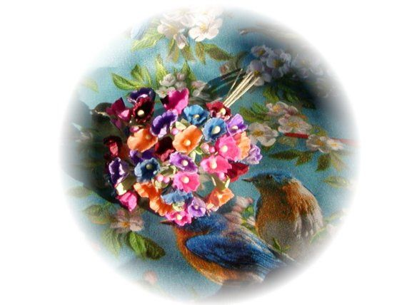 Vintage Style Millinery Forget Me Nots Rich by homesteadtreasures, $5.00