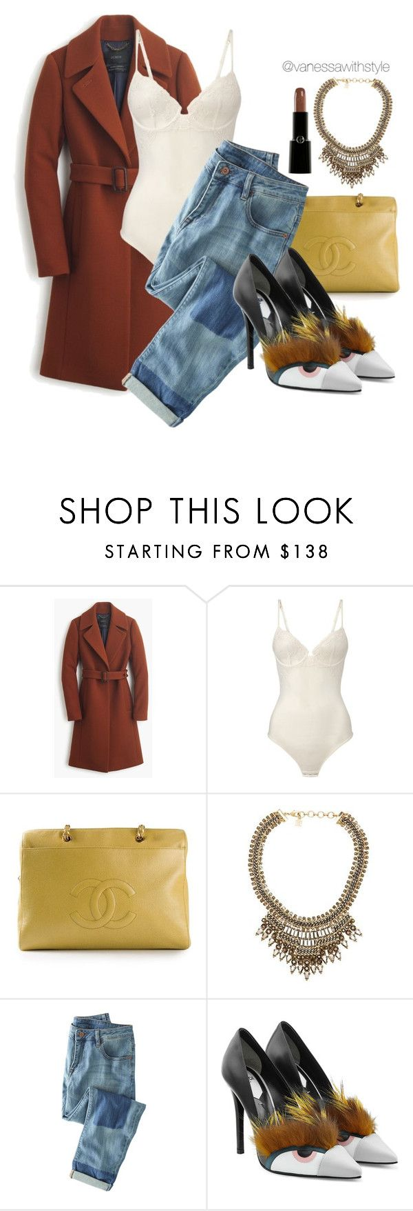 """""""new"""" by vanessawithstyle ❤ liked on Polyvore featuring J.Crew, La Perla, Chanel, BCBGMAXAZRIA, Wrap, Fendi, Giorgio Armani, women's clothing, women and female"""