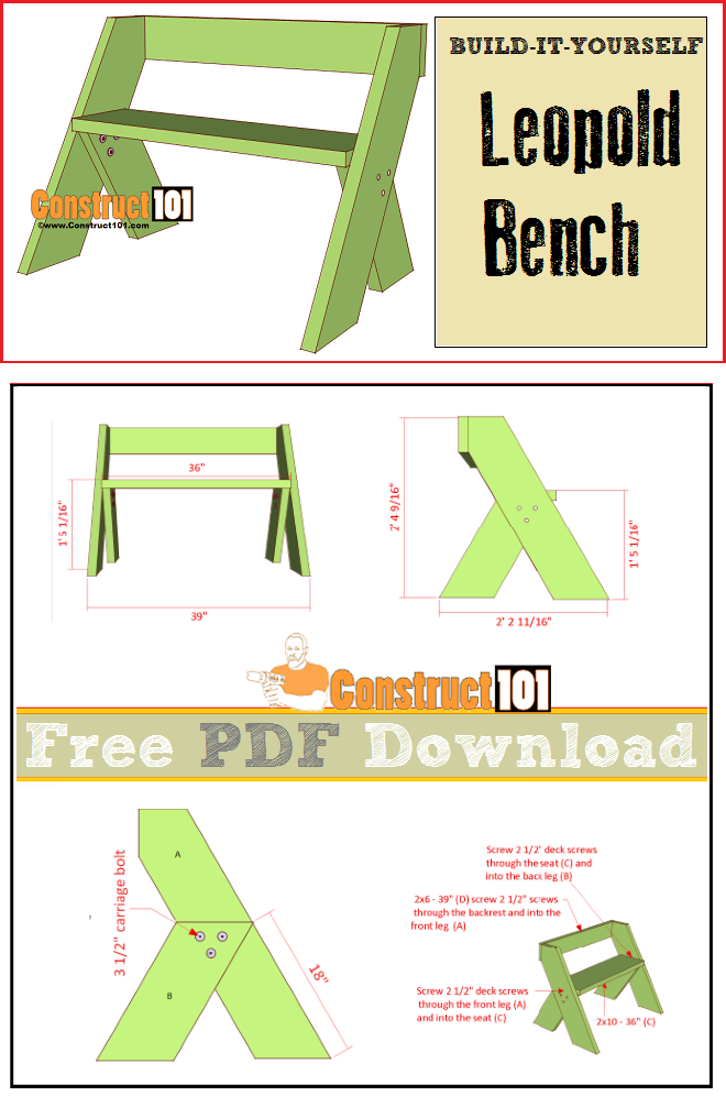 Leopold Bench Plans - PDF Download | Woodworking