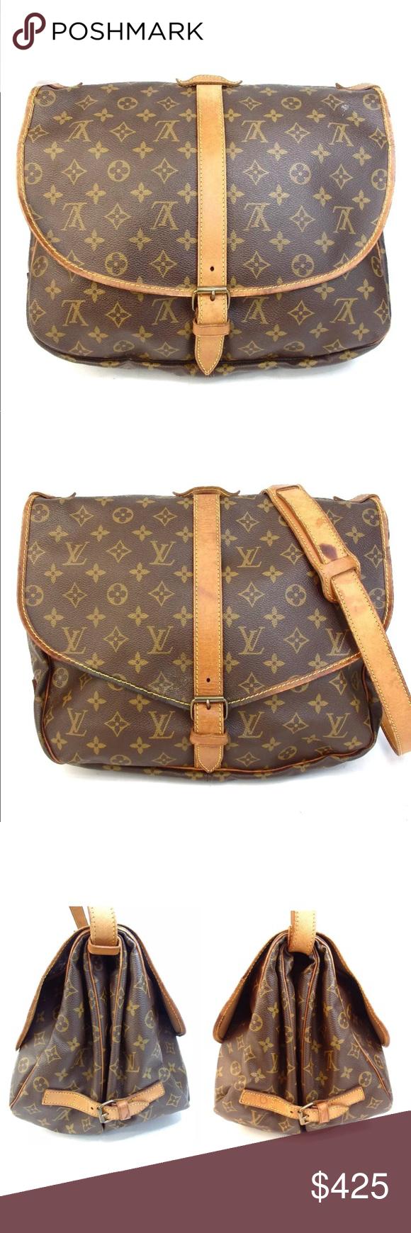 Auth Louis Vuitton Saumur 35 Crossbody Bag Vtg Adorable