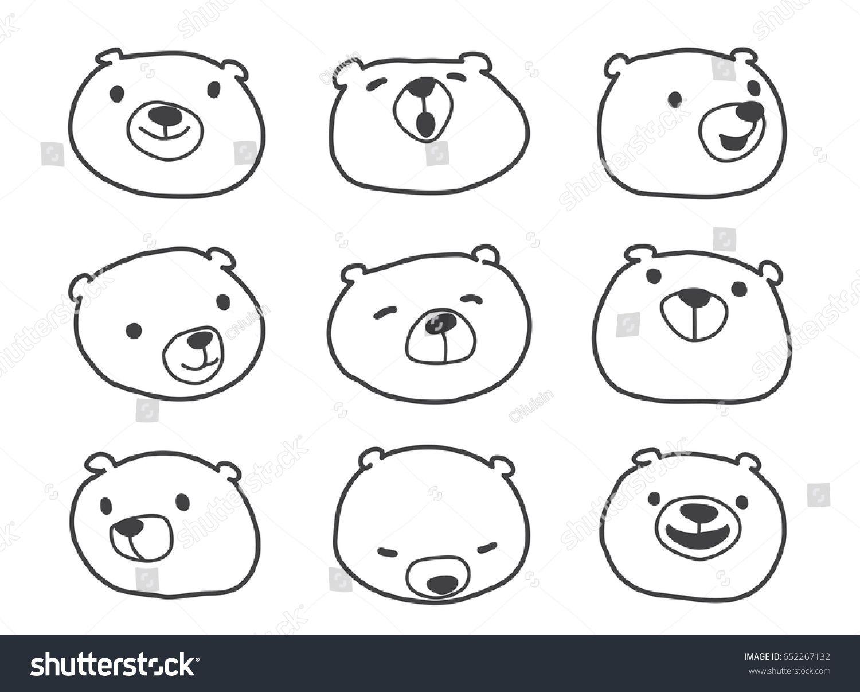 Bear Polar Bear Face Doodle Illustration Bear Face Drawing Polar Bear Drawing Polar Bear Face