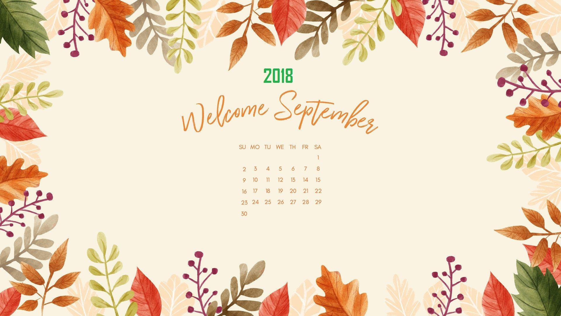 September 2018 Floral Background Wallpaper Calendar