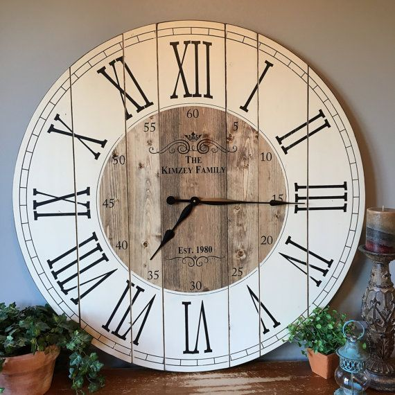 38 Inch Wooden Farmhouse Clock Roman Numeral Rustic Wall Clock Large Wall Clock Personalized Clock Distressed Clock Brianna With Images Rustic Wall Clocks Diy Clock Wall Clock Wall Decor