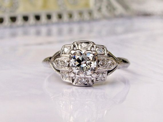 Antique Engagement Ring Old Transitional by LadyRoseVintageJewel, $3250.00